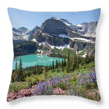 Grinnell Lake Flowers Throw Pillow