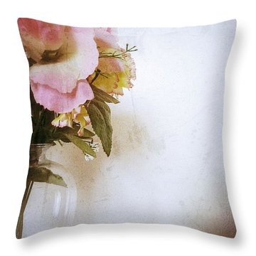 Grunge Flowers 4 Throw Pillow