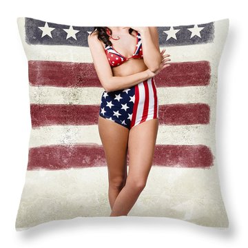 Grunge Pin Up Woman In American Fashion Style Throw Pillow
