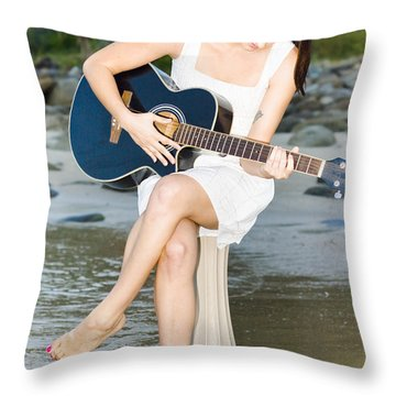 Guitar Woman Throw Pillow