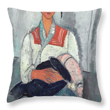 Gypsy Woman With Baby Throw Pillow