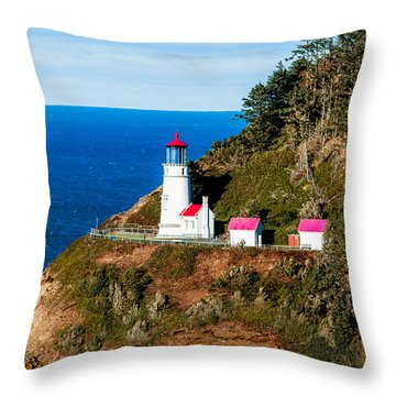 Throw Pillow featuring the tapestry - textile Haceta Head by Dennis Bucklin