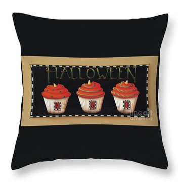 Halloween Cupcakes Throw Pillow by Catherine Holman