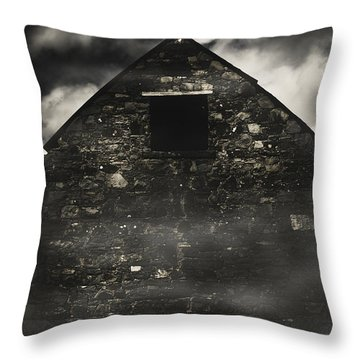 Halloween House Of Horrors. Scary Stone Building Throw Pillow