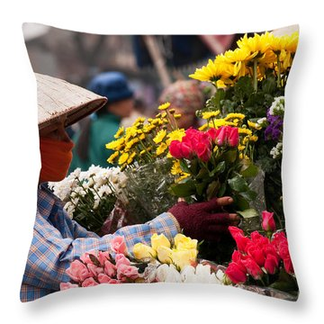 Hanoi Flowers 03 Throw Pillow