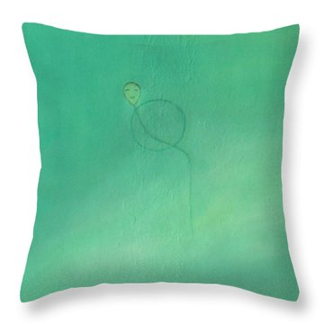 Throw Pillow featuring the painting Happiness Everyday by Min Zou