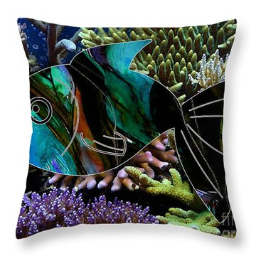 Happy Fish Throw Pillow by Marvin Blaine