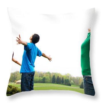 Happy Friends Throw Pillow by Michal Bednarek
