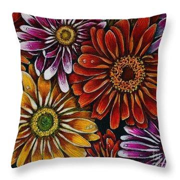 Happy Throw Pillow by Linda Simon