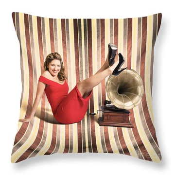 Happy Pin Up Lady. Retro Music And Entertainment Throw Pillow