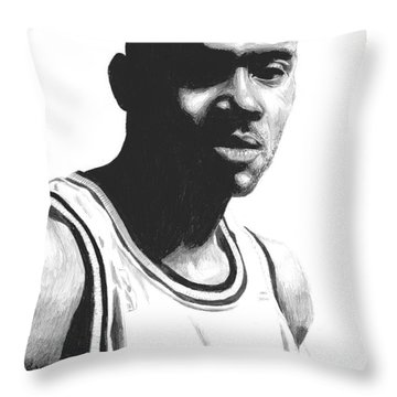Throw Pillow featuring the drawing Hardaway by Tamir Barkan
