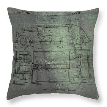 Harleigh Holmes Automobile Patent From 1932 Throw Pillow