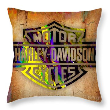 Harley Davidson Motorcycle Throw Pillow by Marvin Blaine