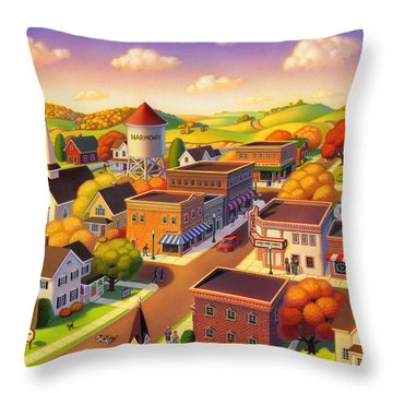 Throw Pillow featuring the painting Harmony Town by Robin Moline