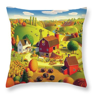 Harvest Bounty Throw Pillow by Robin Moline