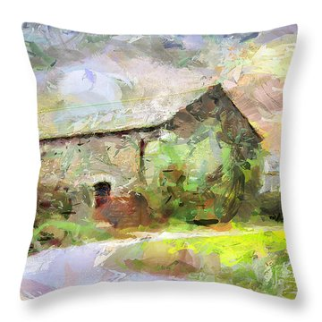 Throw Pillow featuring the painting Haven By The Hill by Wayne Pascall