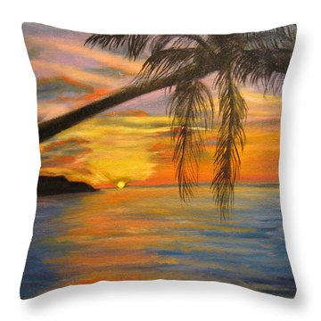 Throw Pillow featuring the painting Hawaiian Sunset 11 by Jenny Lee