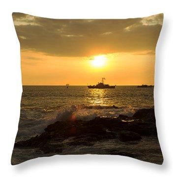 Hawaiian Waves At Sunset Throw Pillow