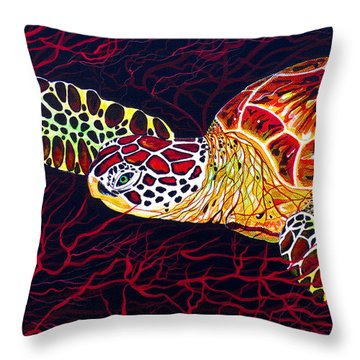 Throw Pillow featuring the painting  Hawksbill Turtle by Debbie Chamberlin