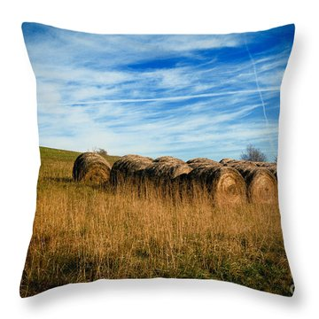 Hay Bales And Contrails Throw Pillow by Amy Cicconi