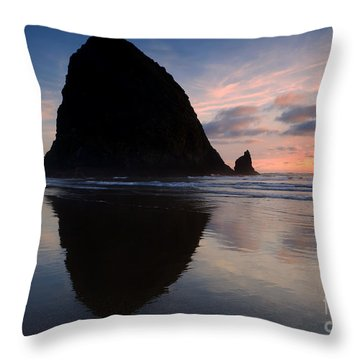 Haystack Reflections Throw Pillow by Mike  Dawson