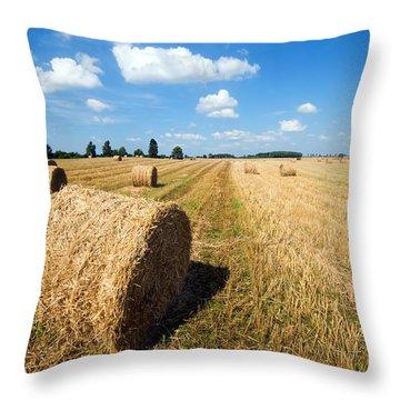 Haystacks In The Field Throw Pillow by Michal Bednarek