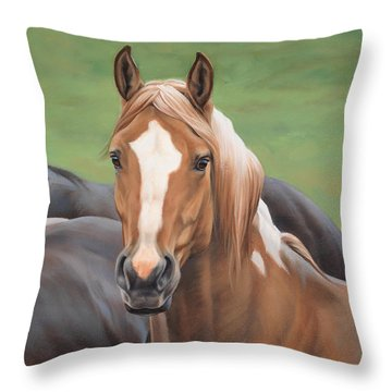 Throw Pillow featuring the painting Heads Up by JQ Licensing