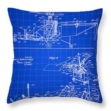 Helicopter Patent 1940 - Blue Throw Pillow