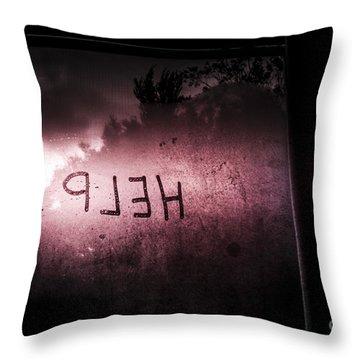 Help Written On A Misty Glass Window. No Escape Throw Pillow