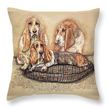 Hess'er Puppies Throw Pillow by Linda Simon