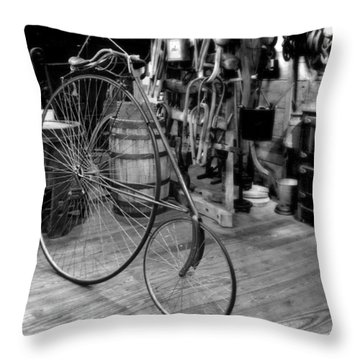 High Wheel 'penny-farthing' Bike Throw Pillow by Christine Till