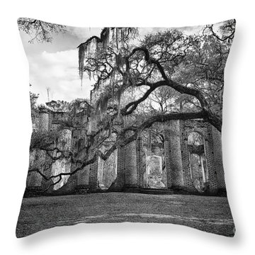 Historic Sheldon Church 4 Bw Throw Pillow
