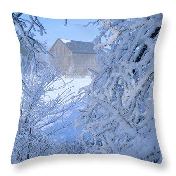 Hoarfrost Farm Throw Pillow