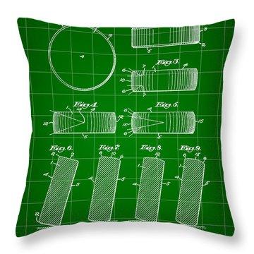 Hockey Puck Patent 1940 - Green Throw Pillow