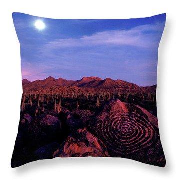 Hohokam Petroglyph In The Saguaro Throw Pillow