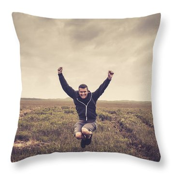 Holiday Man Jumping On Rural Australia Landscape Throw Pillow