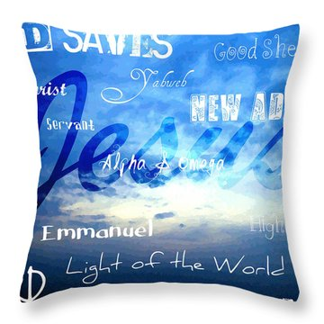 Holy Name Of Jesus Throw Pillow by Sharon Soberon
