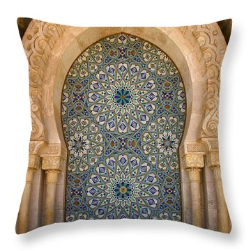 Throw Pillow featuring the photograph Holy Water Fountain Hassan II Mosque Sour Jdid Casablanca Morocco  by Ralph A  Ledergerber-Photography
