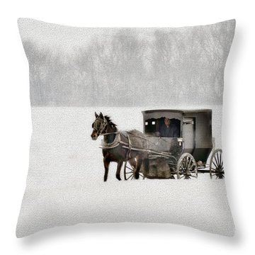 Horse And Buggy In Snow Storm Throw Pillow by Dan Friend