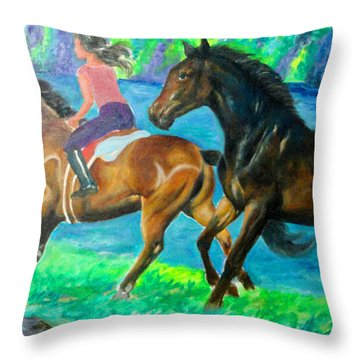 Horse Riding In Lake Throw Pillow by Manuel Cadag