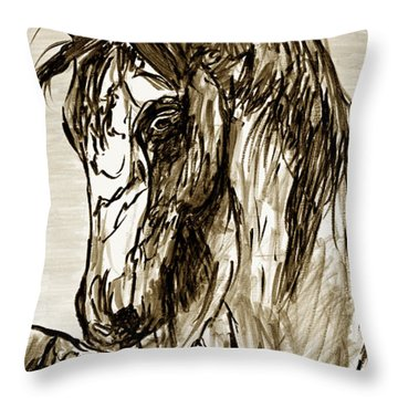 Horse Twins II Throw Pillow