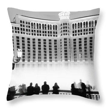 Hotel Lit Up At Night, Bellagio Resort Throw Pillow