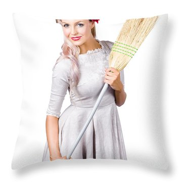 Housemaid With Broom Throw Pillow