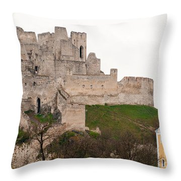 Throw Pillow featuring the photograph Hrad Beckov - Castle by Les Palenik