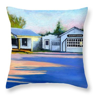 Huckstep's Garage Free Union Virginia Throw Pillow by Catherine Twomey