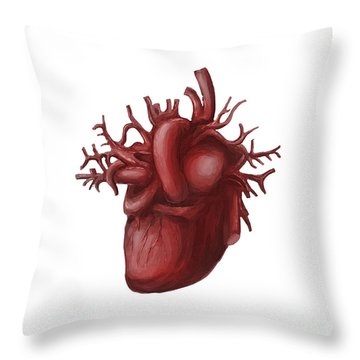 Human Heart Medical Diagram Isolated On White Throw Pillow