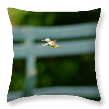 Throw Pillow featuring the photograph Hummer In Flight by Ben Upham III