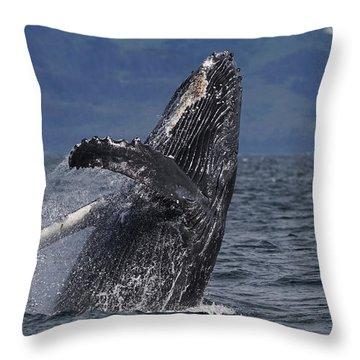 Humpback Whale Breaching Prince William Throw Pillow by Hiroya Minakuchi