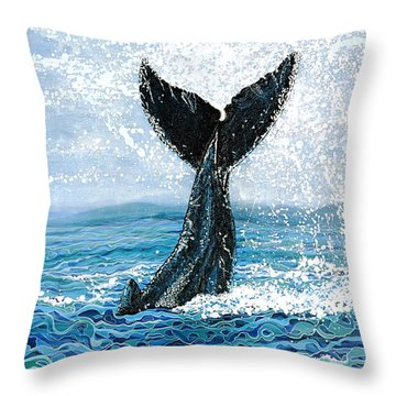 Throw Pillow featuring the painting Humpback Flukes by Debbie Chamberlin