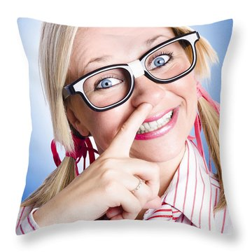 Hungry Business Woman Having Morning Tea Snack Throw Pillow